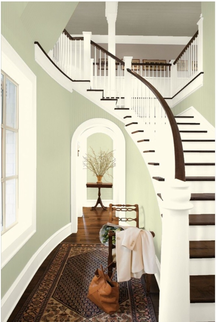 Benjamin Moore Guildford Green color of the year stairccase