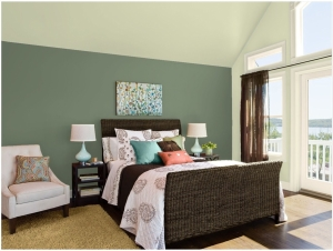 Benjamin Moore Guildford Green bedroom with accent wall
