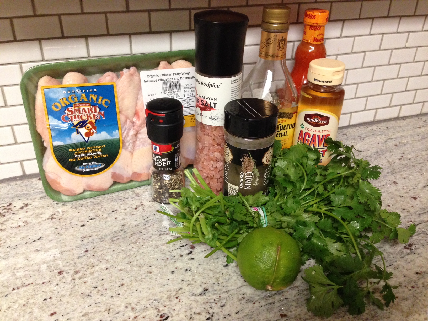 Ingredients For Tequila Lime Wings On The Big Green Egg