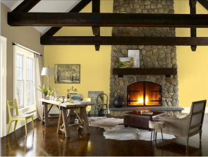 Marblehead gold looks great on an accentwall with a natural stone fireplace