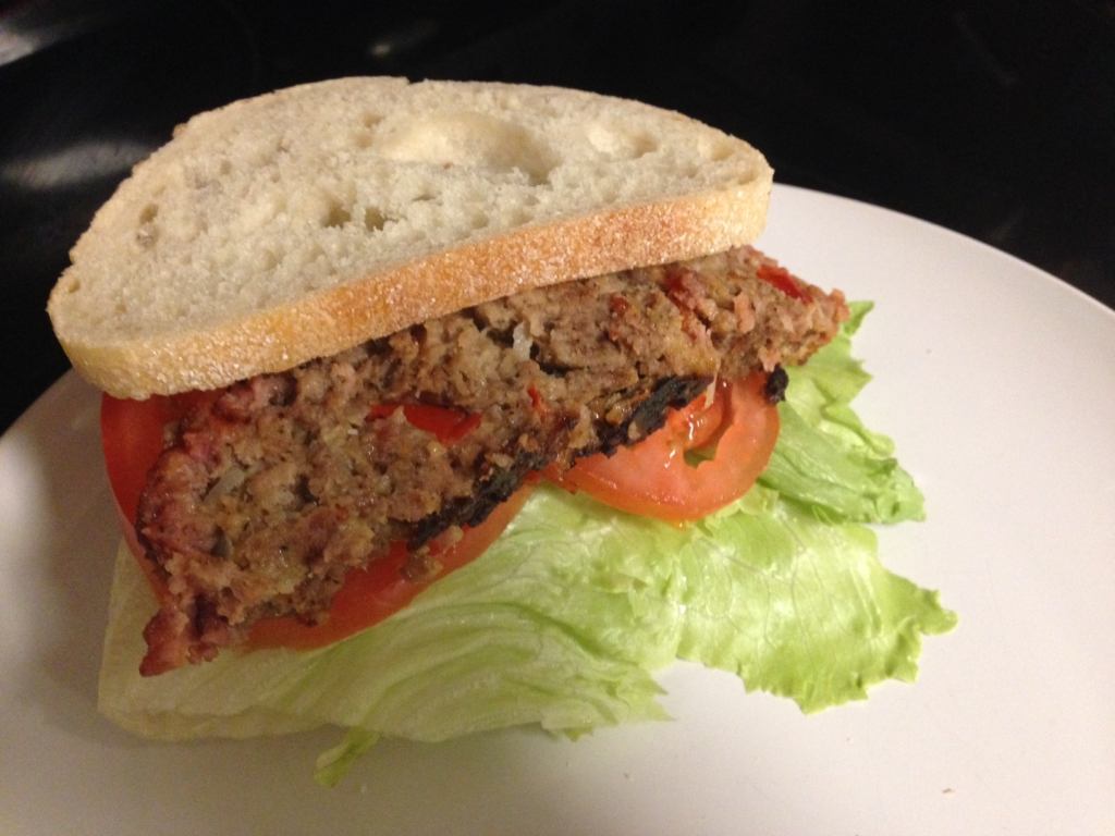 Delicious grilled meat loaf sandwich from the Big Green Egg