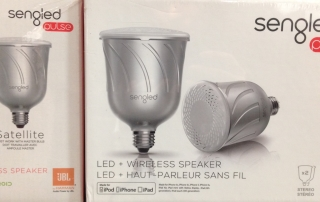 One of our favorite new products, the Sengled smart LED light bulbs that combine a Bluetooth speaker or WiFi booster with an energy-saving LED bulb.