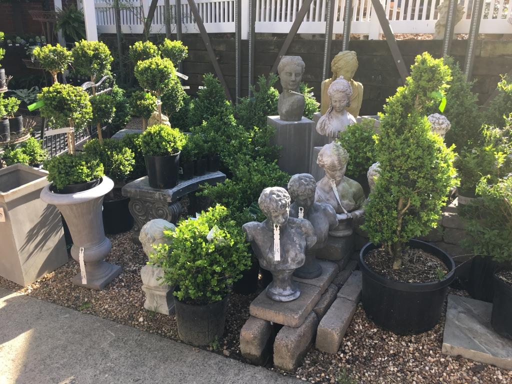 Garden statues from Blackhawk Hardware in Charlotte, NC