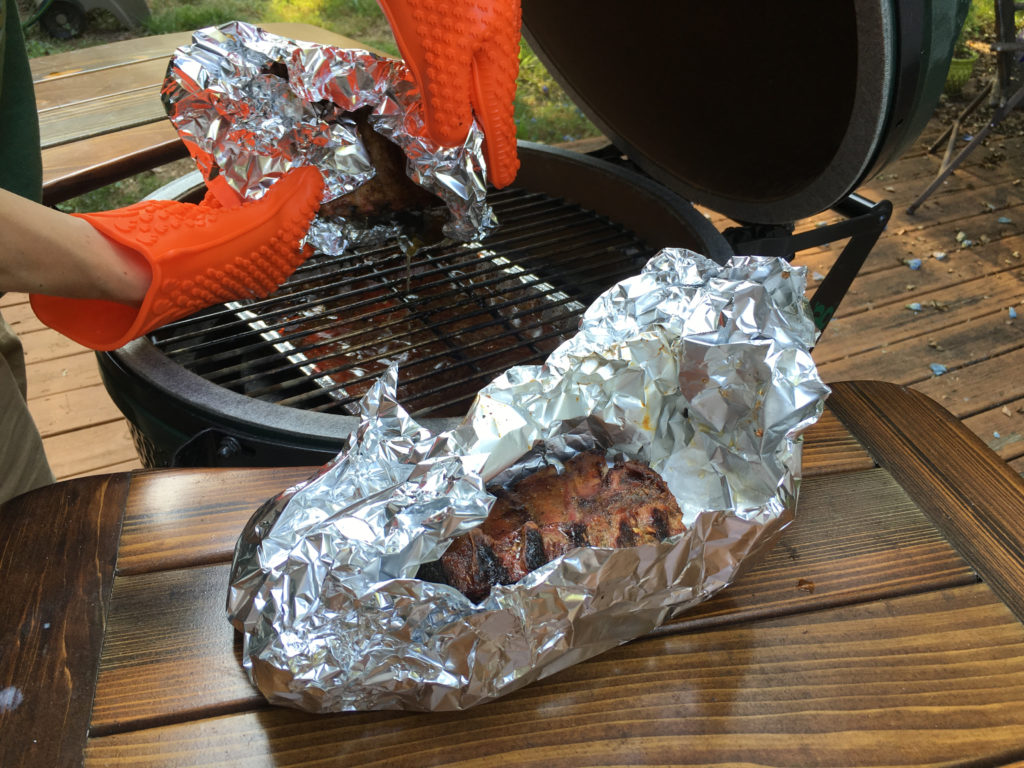 Almost done... removing the ribs out of their foil packages