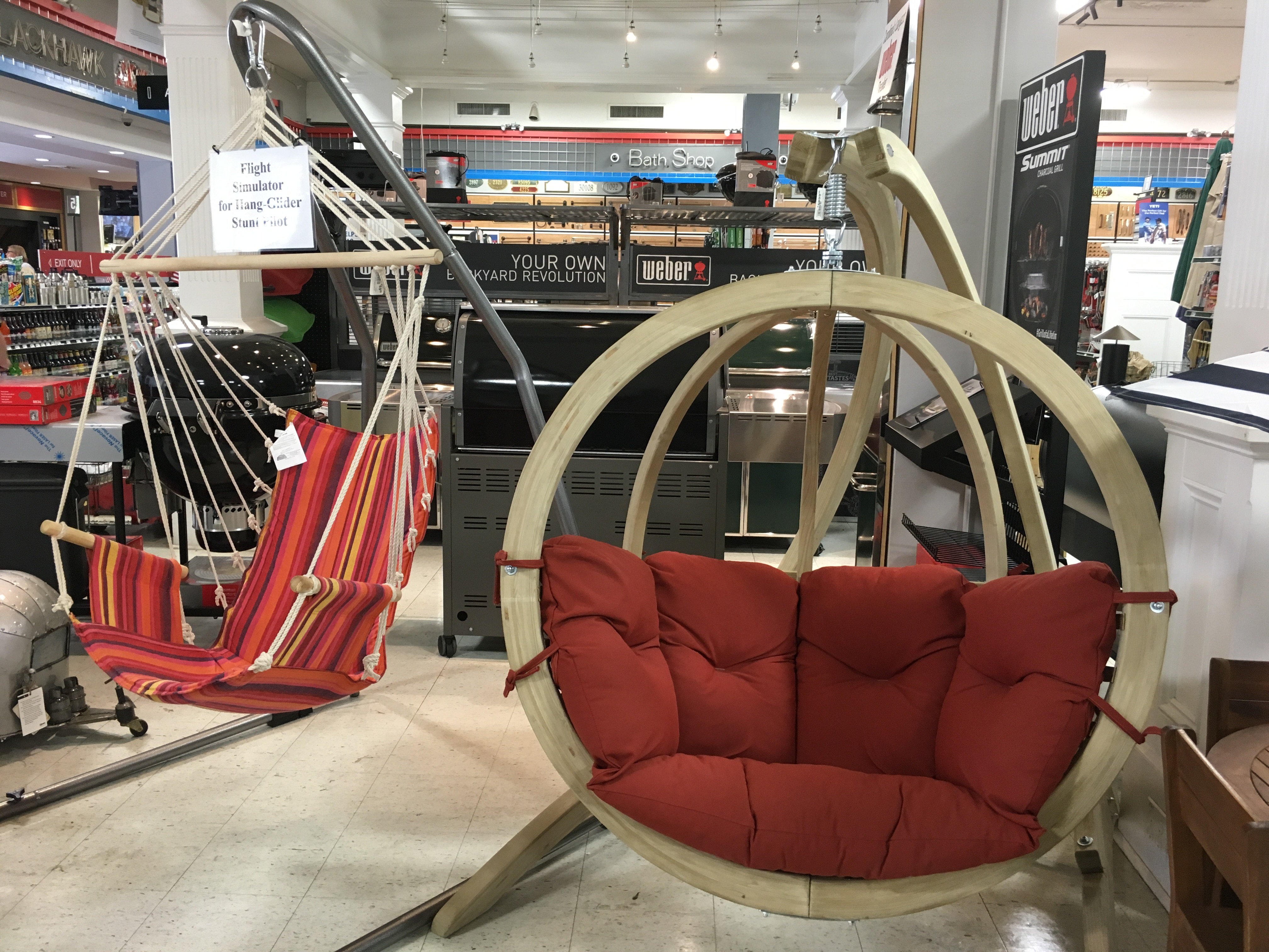 Hanging chairs and gliders from Blackhawk Hardware