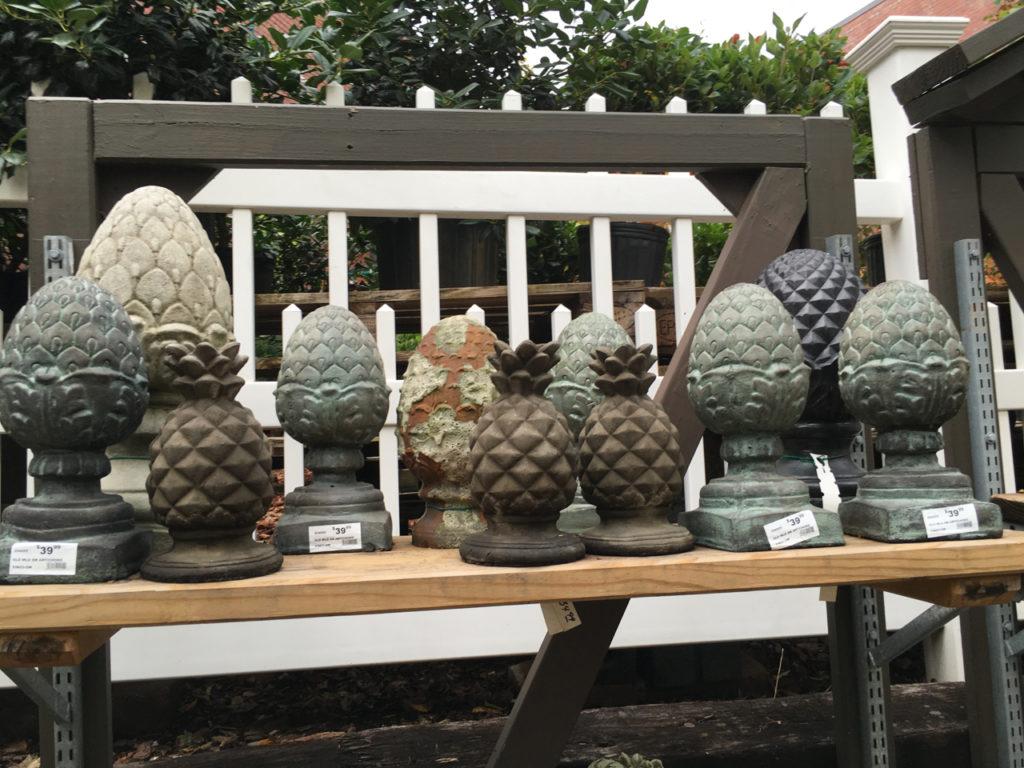 Pineapple and Artichoke Statues from Blackhawk Hardware