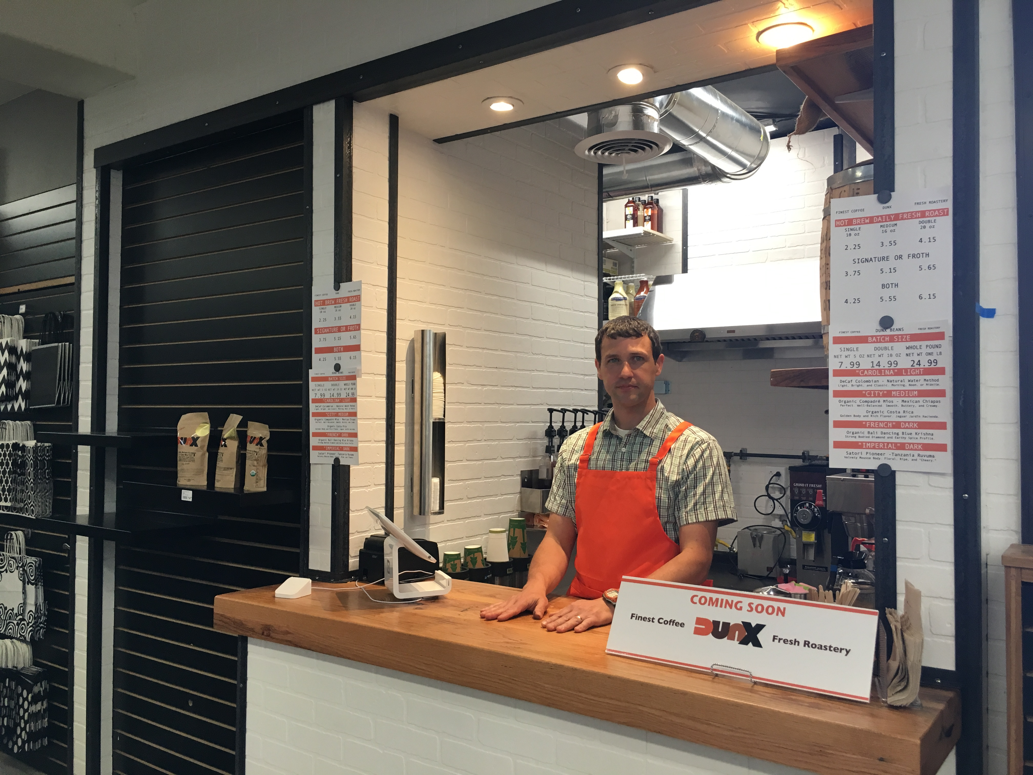 Duncan St. Clair brings organic coffee to Blackhawk Hardware at Park Road Shopping Center