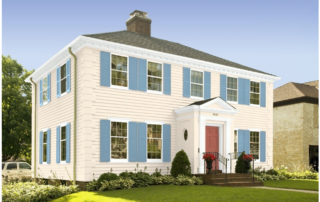 Perfect paint scheme for colonial houses: Colonial Cream, Colonial Blue and Colonial Brick from Benjamin Moore