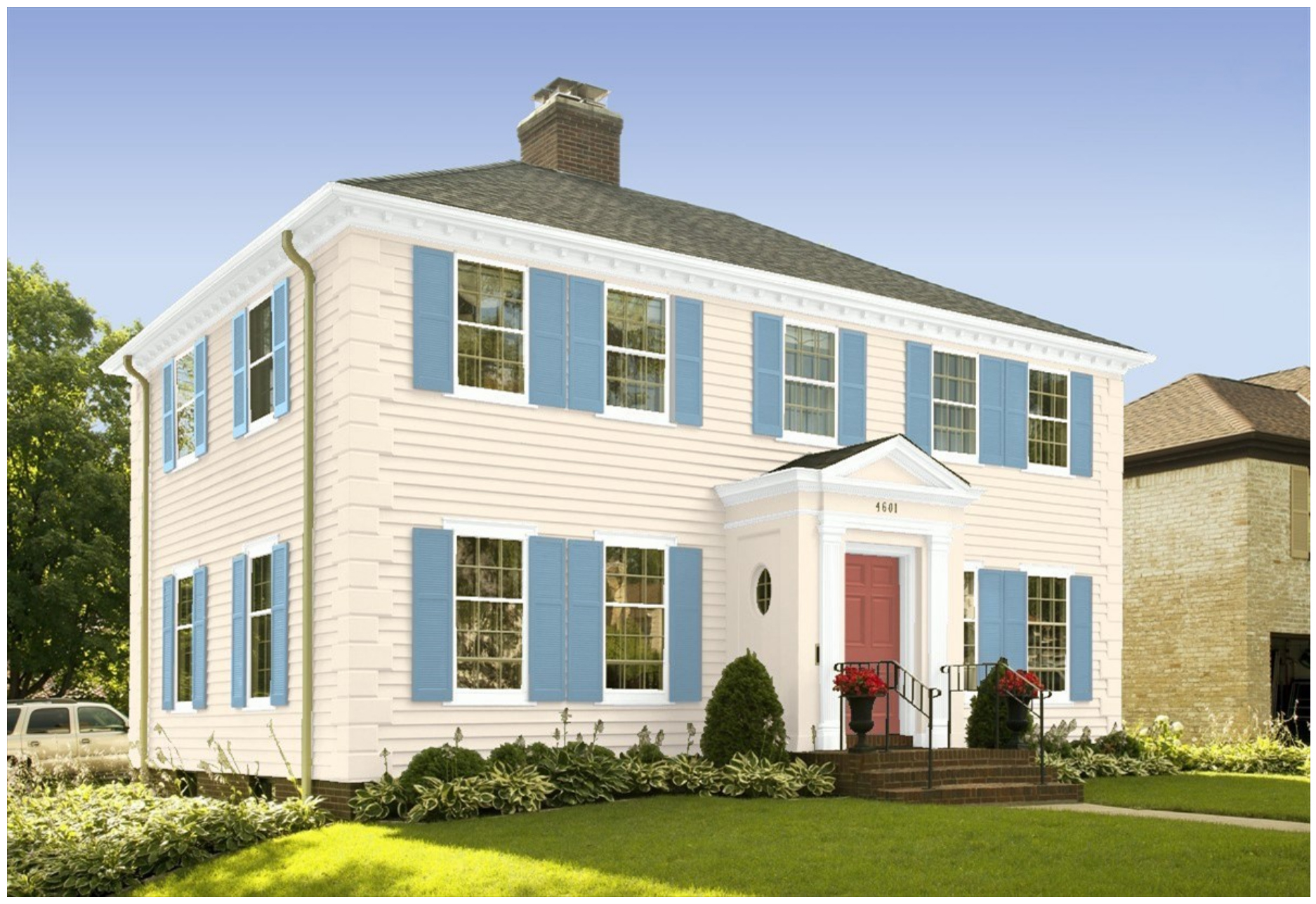 Americana inspired interior and exterior paint colors by - Benjamin moore exterior paint schemes ...
