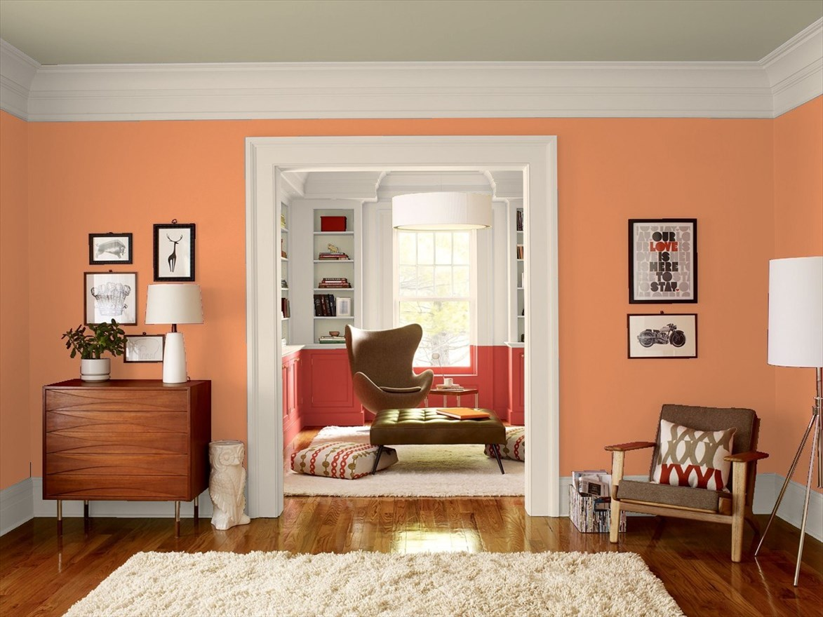 Living Room In Benjamin Moore S Sienna Clay