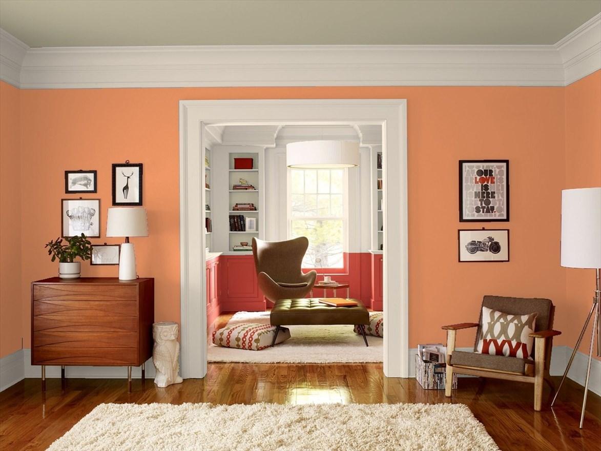 Charmant Living Room In Benjamin Mooreu0027s Sienna Clay
