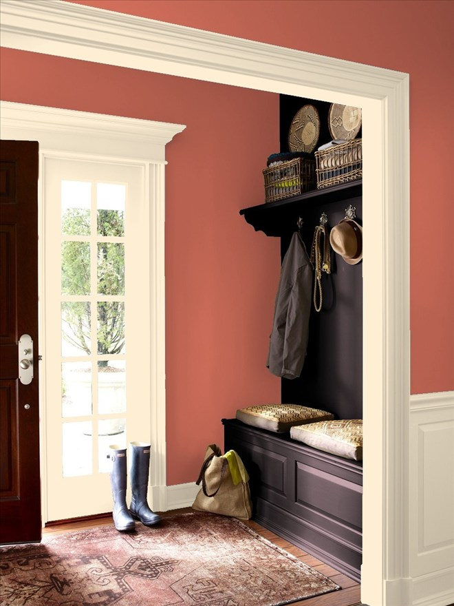 Fall inspired paint colors by benjamin moore blackhawk for Pumpkin spice paint living room