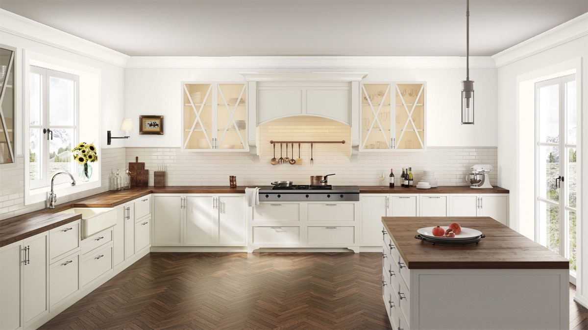 Modern farm house kitchen in painted in Benjamin Moore's Alabaster