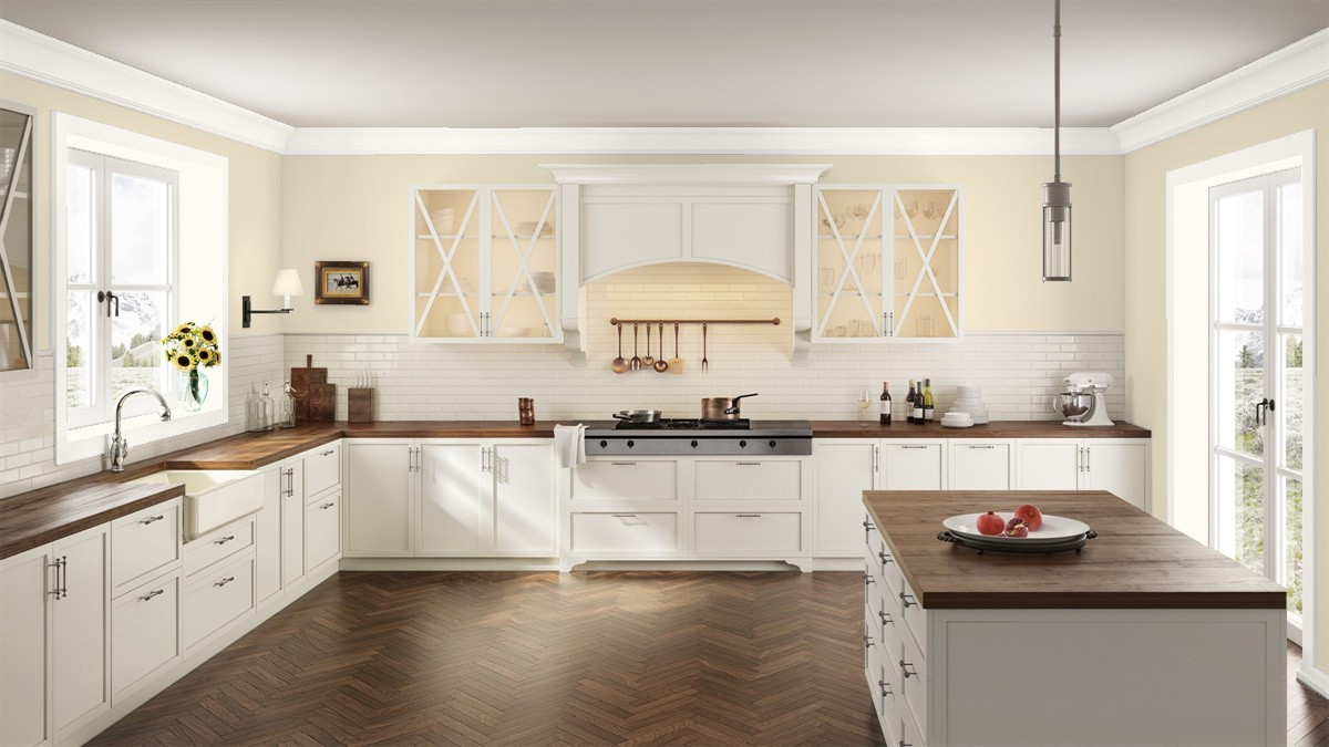 Kitchen in benjamin moores pale almond