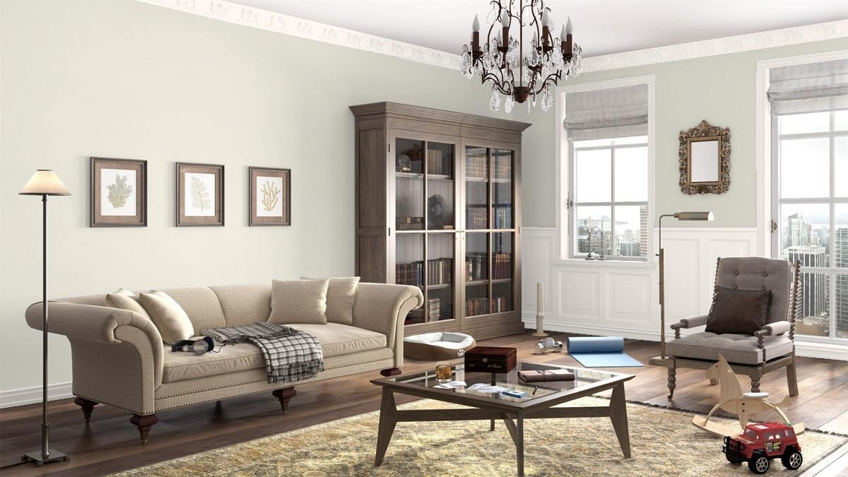 Living Room in Benjamin Moore's Soft Chamois
