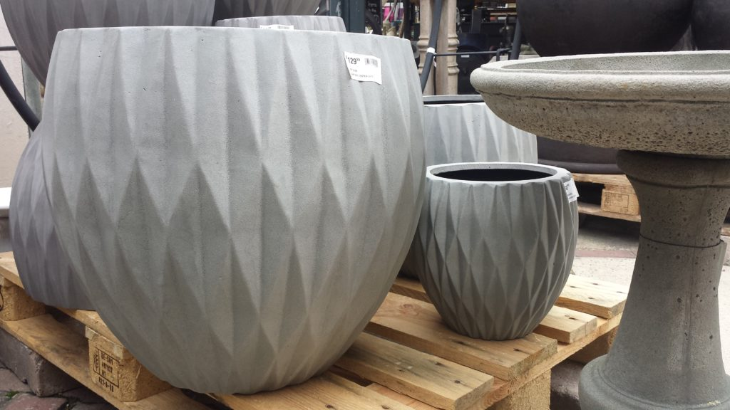 Stunning containers and concrete bird baths