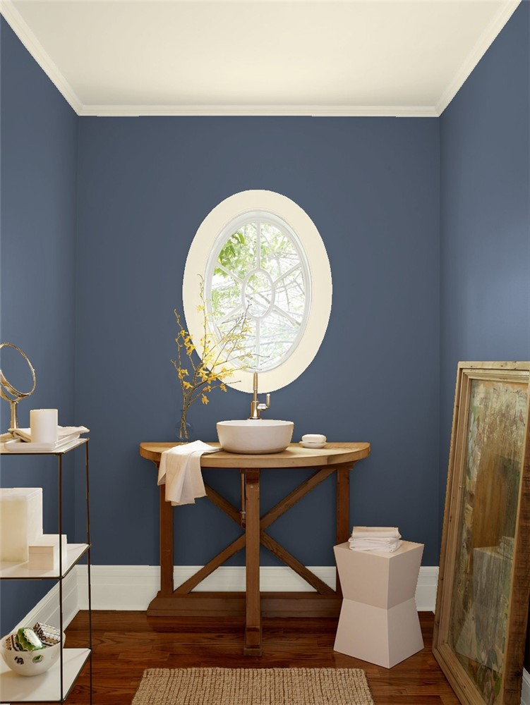 Bath Room In Benjamin Moore S Blue Gaspe
