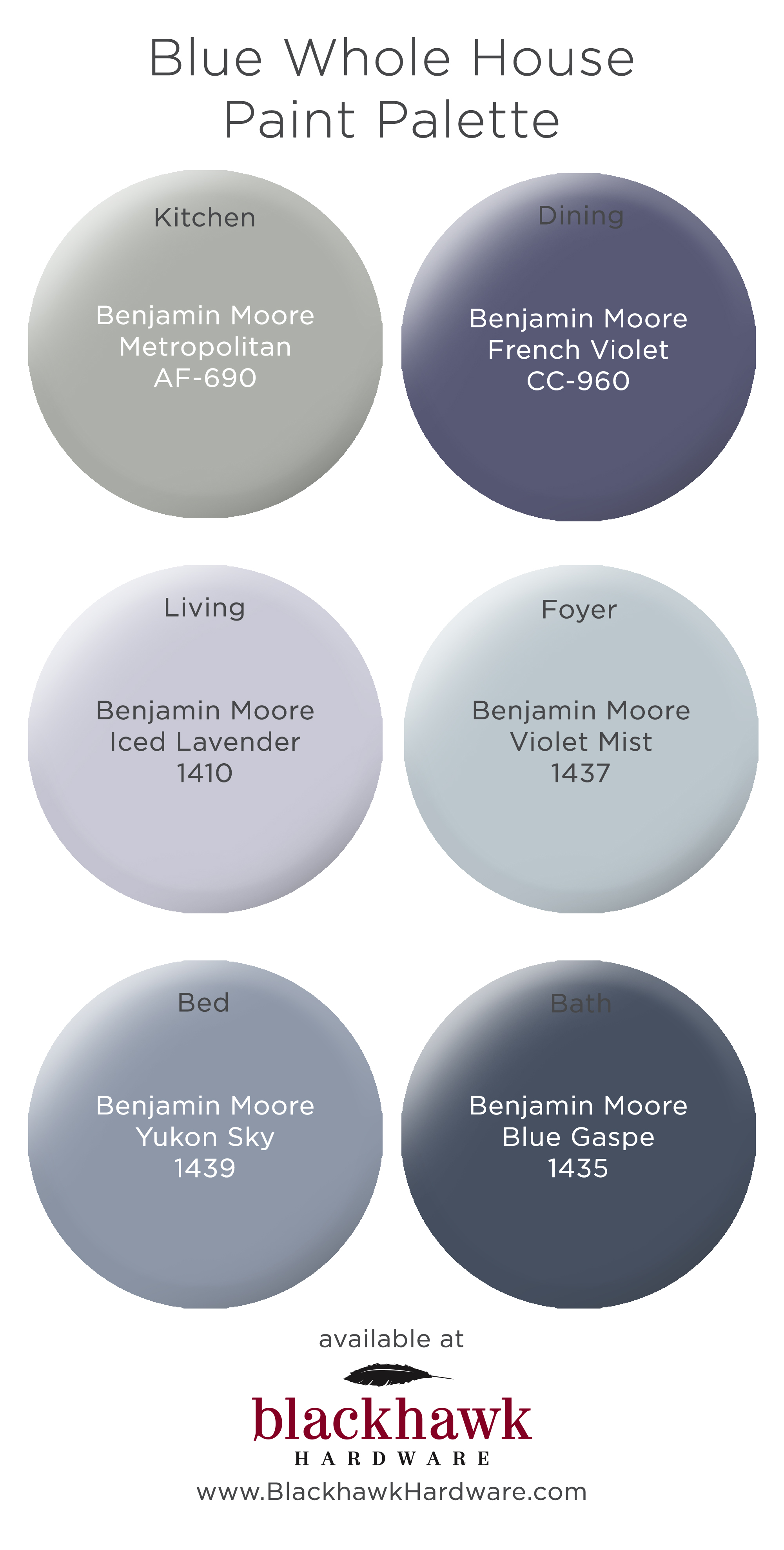 Blue Whole House Benjamin Moore Paint Pallette