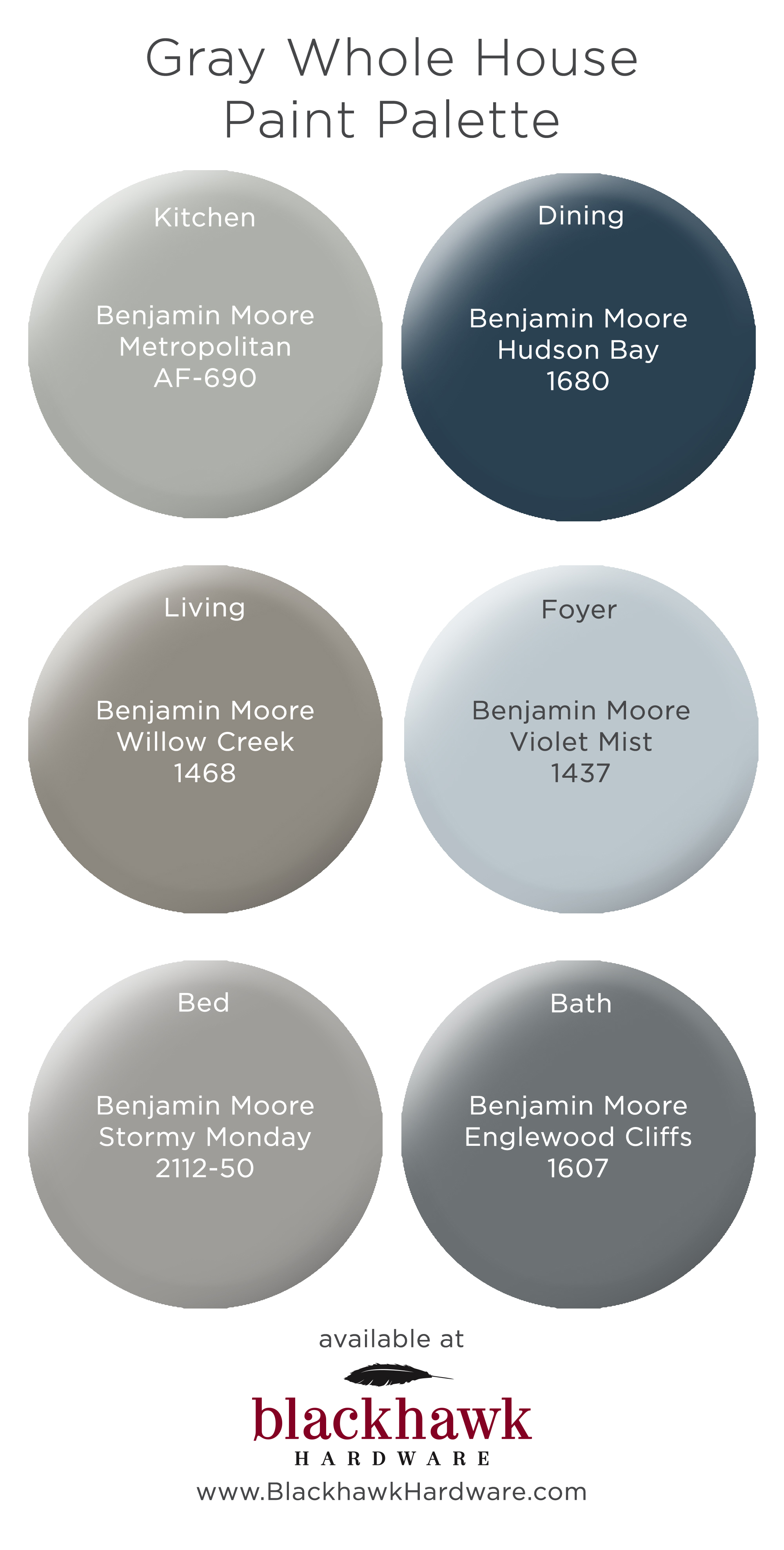 Gray Whole House Benjamin Moore Paint Palette