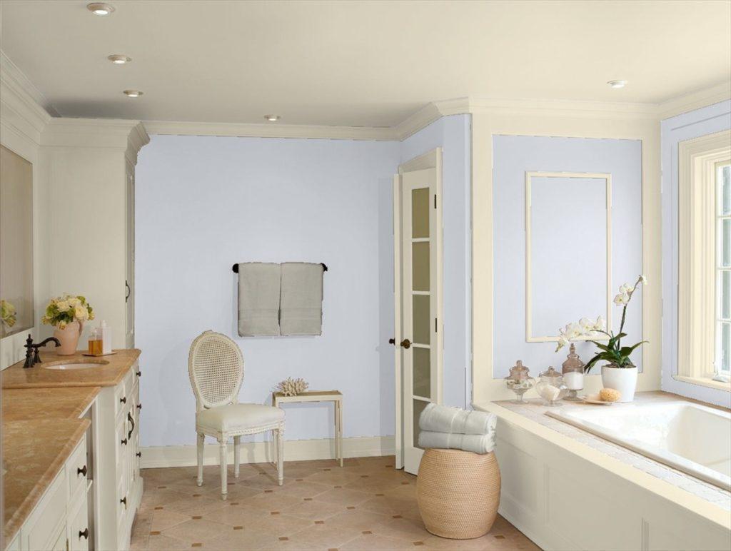 Bathroom in Benjamin Moore's Misty Memories