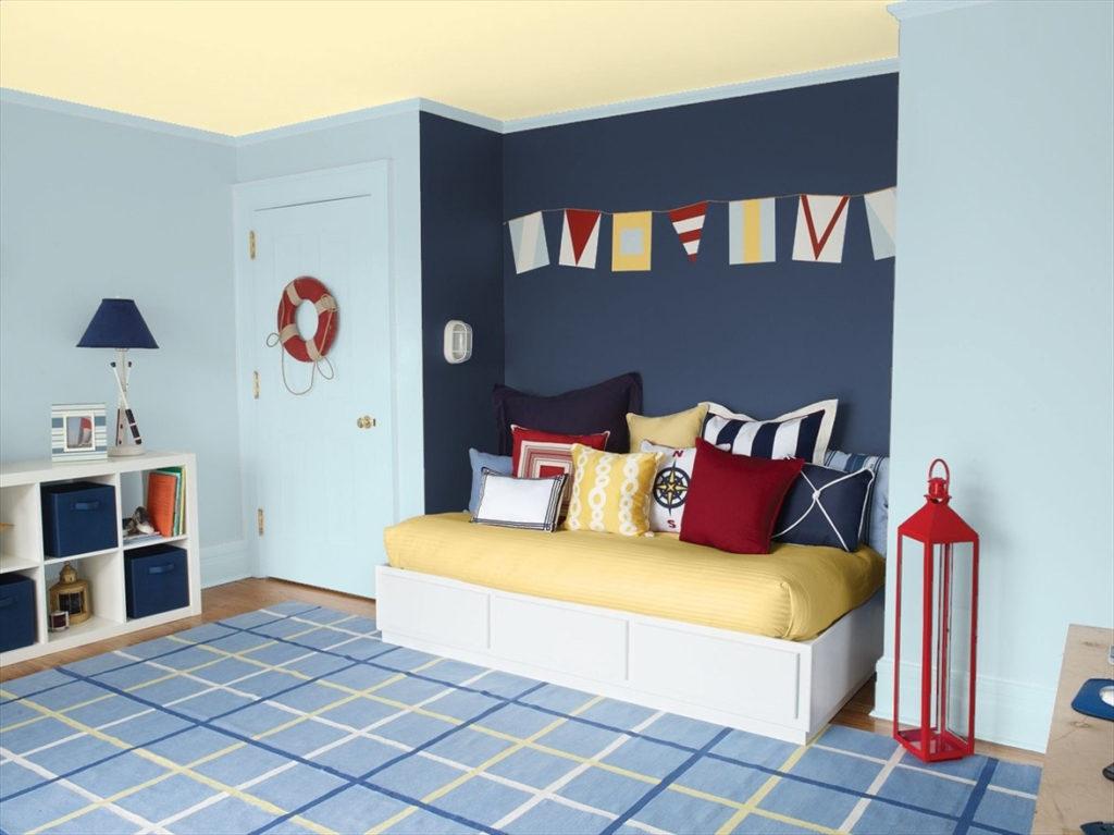 Nautical kid's room in Benjamin Moore's Fresh Breath, Stunning, and Falling Star