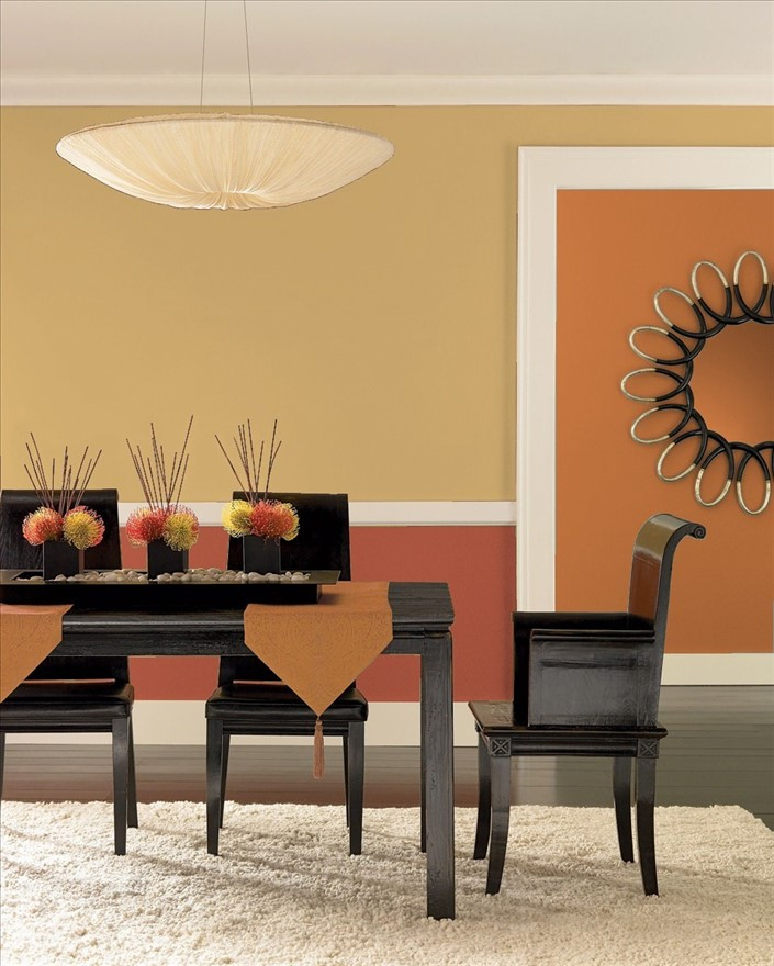 Dining Room In Benjamin Moores Citrine And Salsa Dancing Hallway Painted Buttered Yam