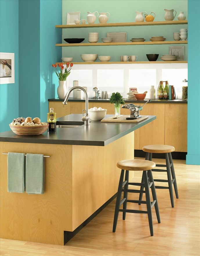 Young professional condo kitchen painted in Benjamin Moore Peacock Blue and Acadia Green