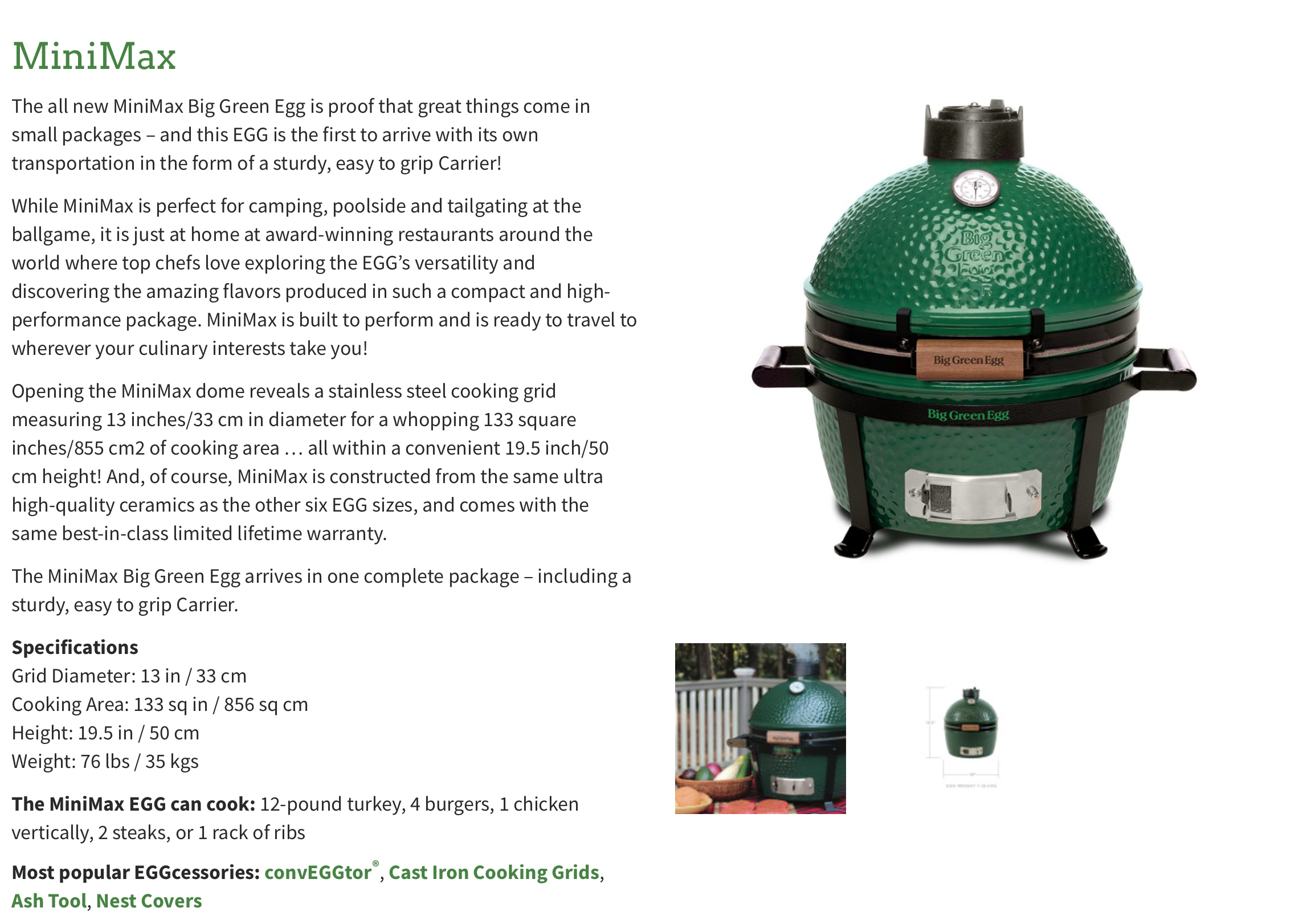 The Big Green Egg MiniMax is ideal for tailgating