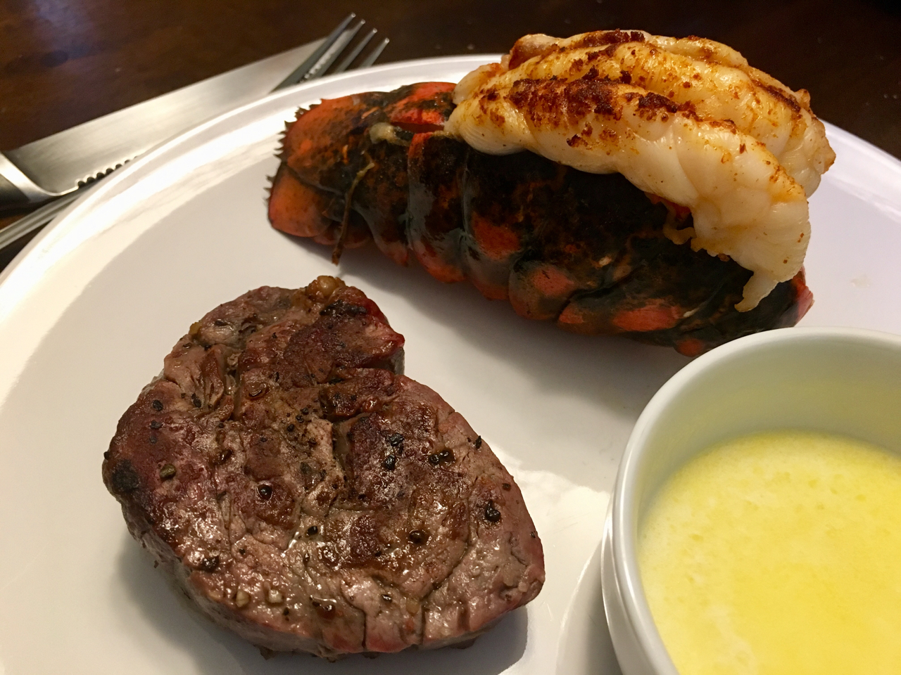 Recipe for Surf and Turf Lobster Tail and Steak Made on the Big Green Egg