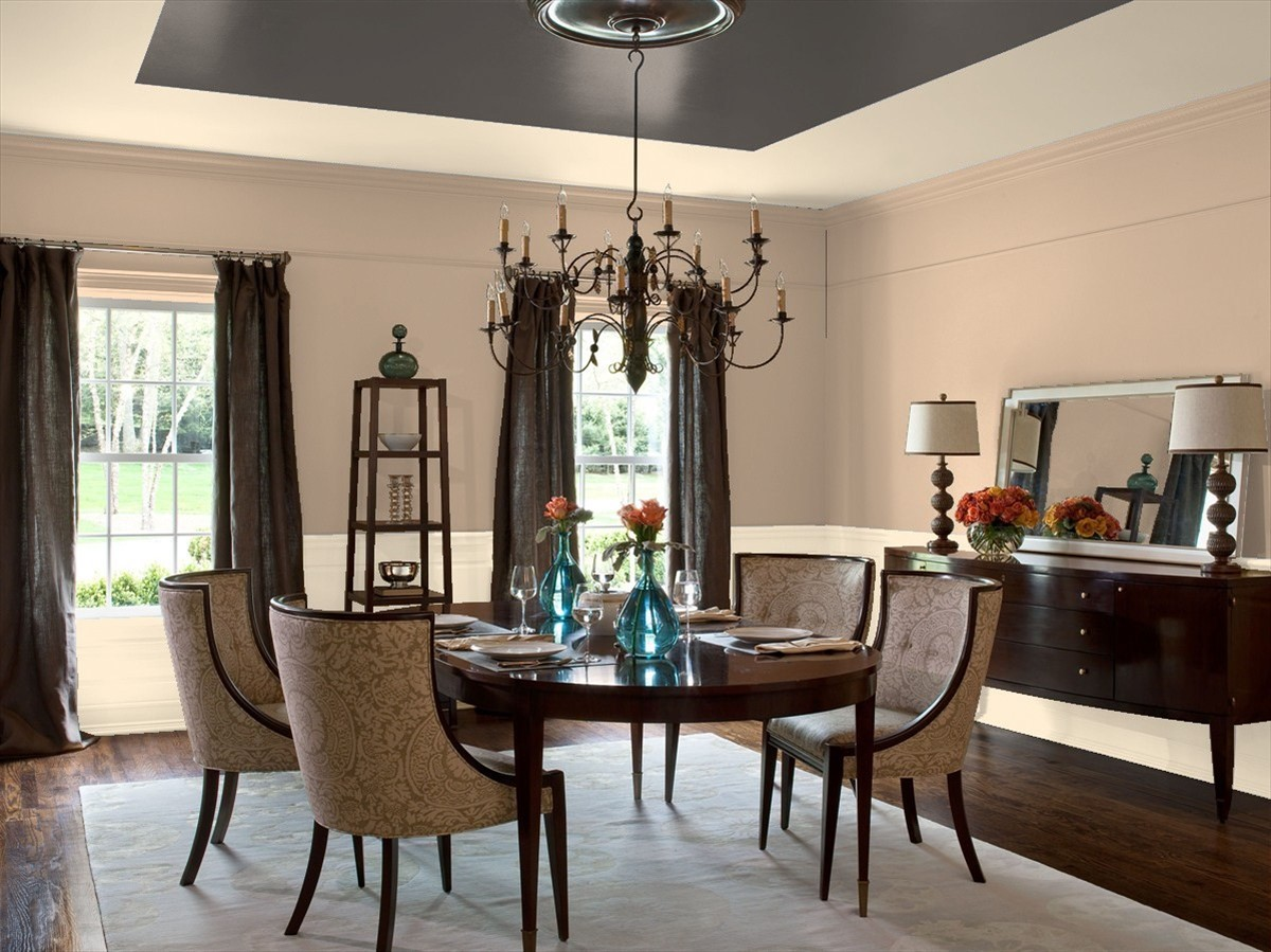 Dining room painted in Benjamin Moore's Interlude, Frappe, and Silhouette