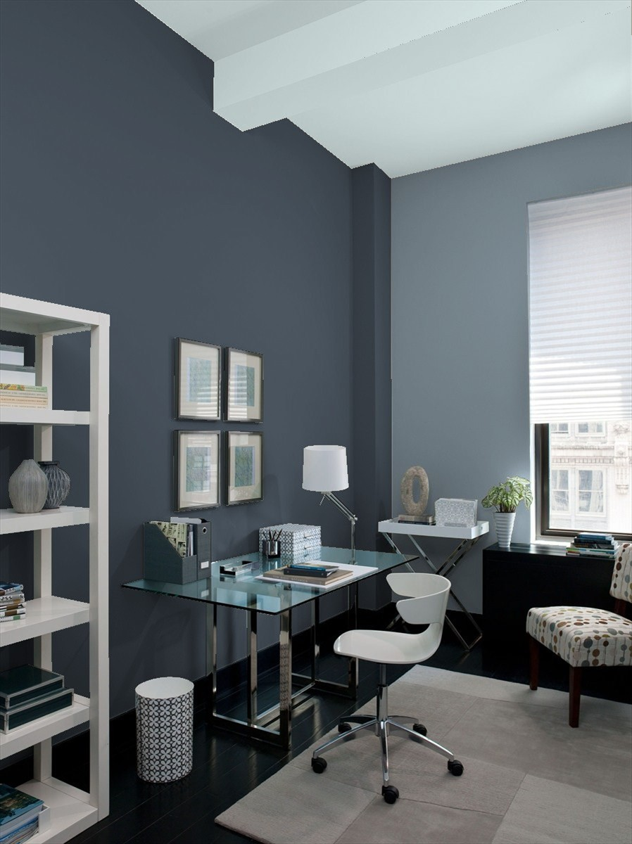 Home Office painted in Benjamin Moore's Hale Navy, Black Pepper and Smoke