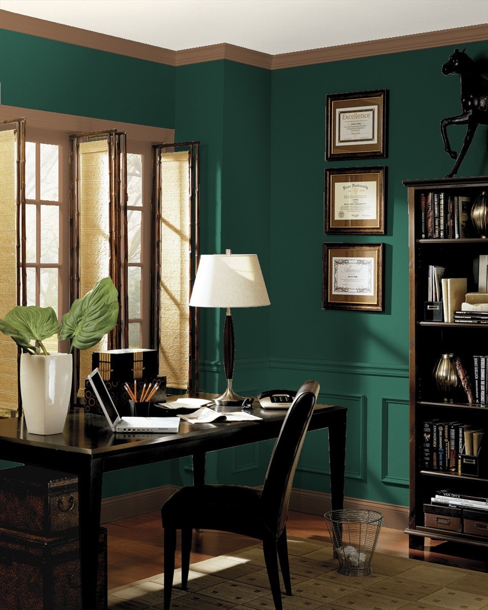Home office in Benjamin Moore's Hunter Green and Kona