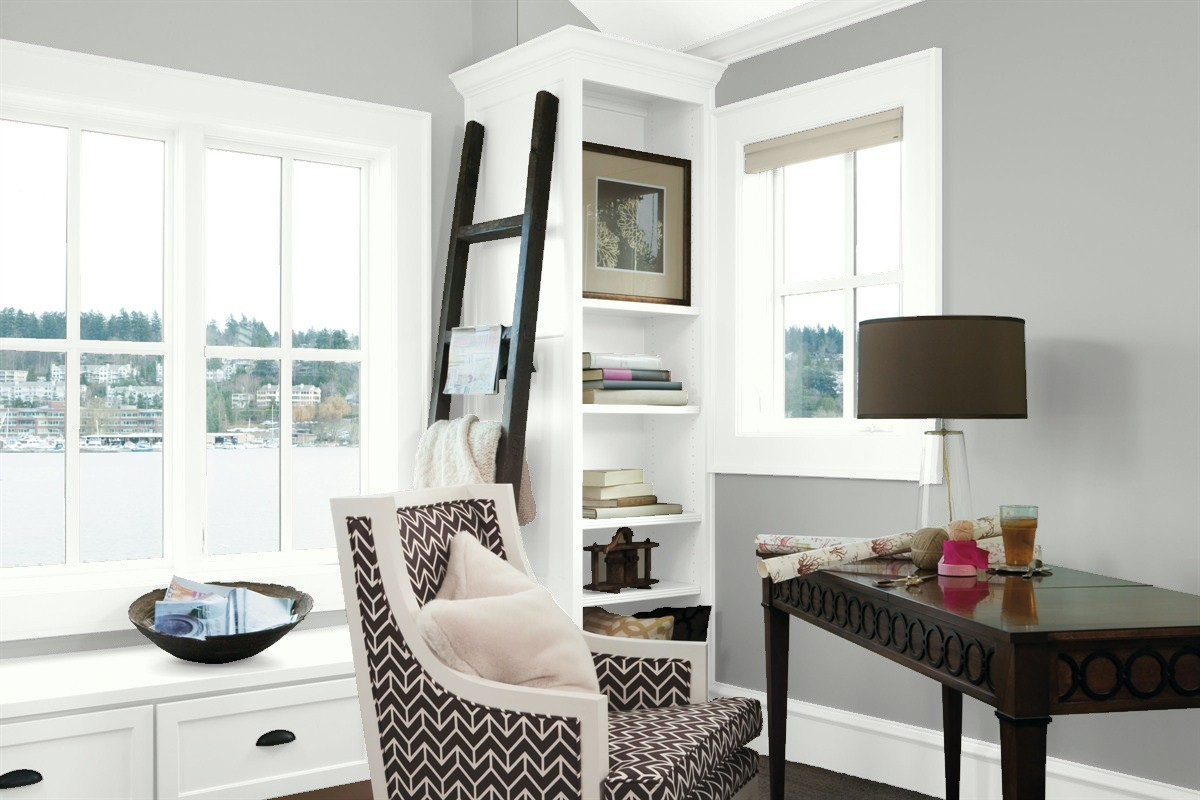 Home Office in Benjamin Moore's Metropolitan and Head over Heels