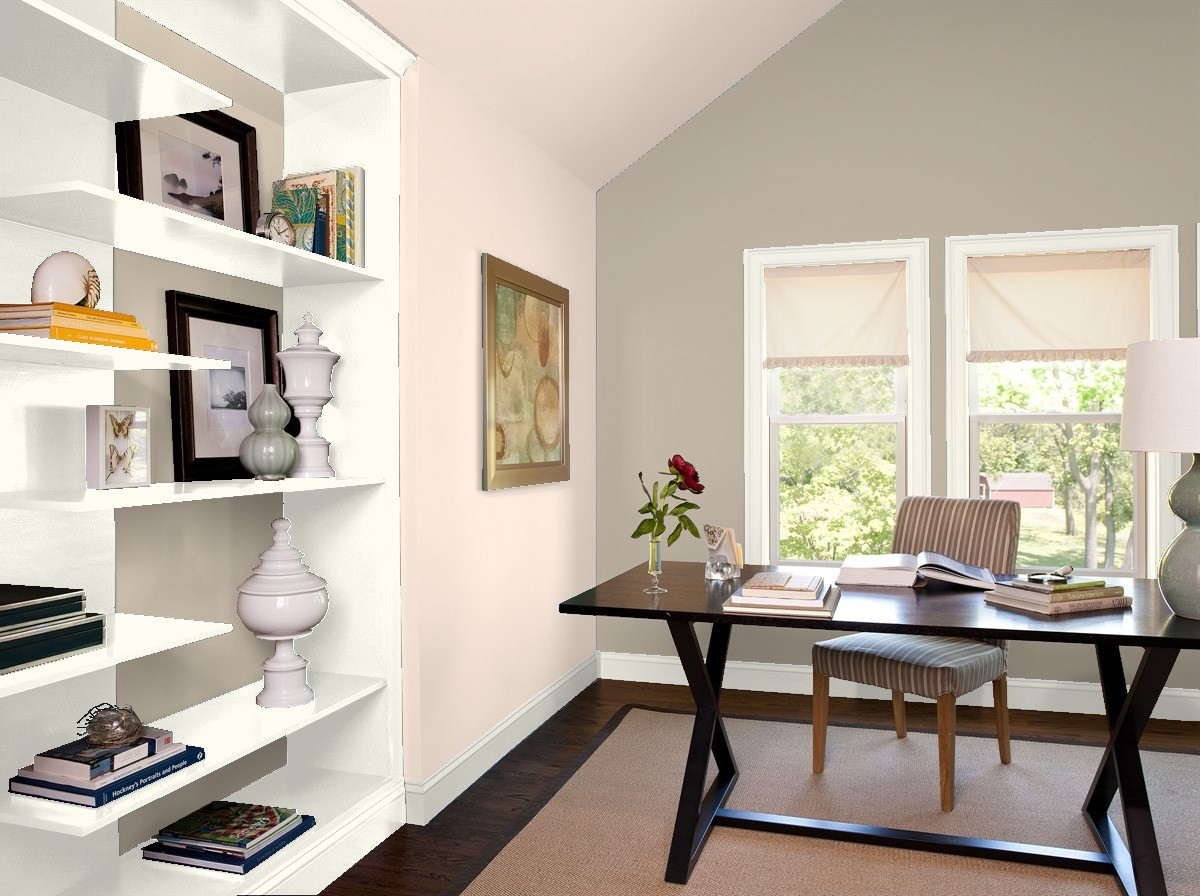 Benjamin Moore's 2019 Color Trends of The Year - Home Office in Pashmina and Head Over Heels