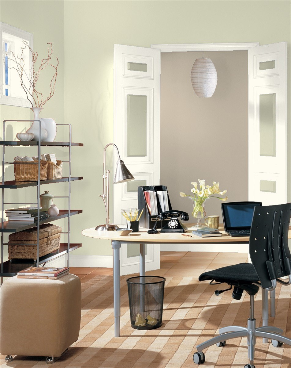 Home Office Painted In Benjamin Moore S Soft Fern Pashmina And Cloud White