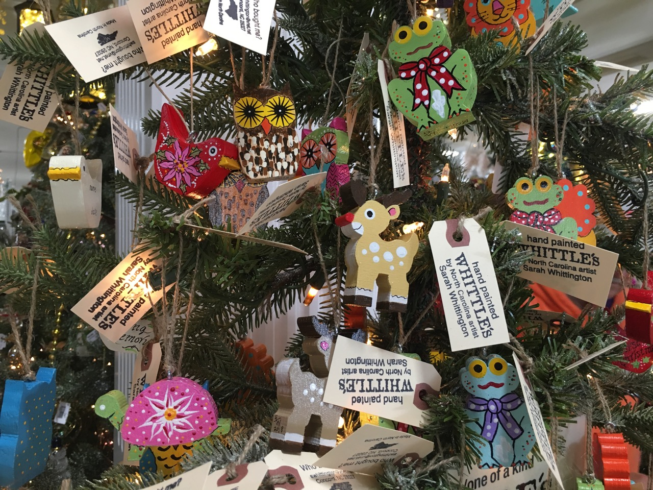 Hand-made wooden ornaments from local artist Sarah Whittington